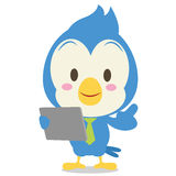 Blue jay with tablet character Stock Photography