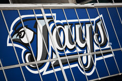 Blue Jays Logo. The logo for the Toronto Blue Jays on the side of the Rogers Center in downtown Toronto stock image