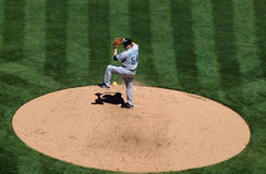 Blue Jays pitcher Jason Frasor lifts leg to throw Royalty Free Stock Photography