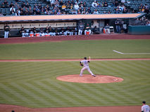 Blue Jays Pitcher Shaun Marcum steps forward to throws pitch Royalty Free Stock Photography