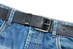Blue jean. A blue jean and belt close up shot Stock Photos