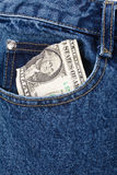 Blue jean and dollar bill Stock Photography