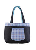 Blue jean fabric lady handbag Stock Image
