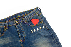 Blue jean with heart shape Stock Photos
