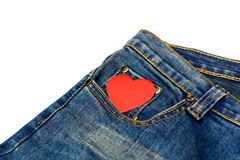 Blue jean with heart shape Stock Photography