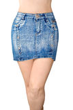 Blue jean miniskirt. Is the front view Royalty Free Stock Photos