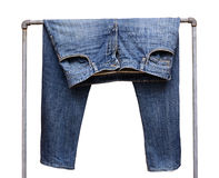 Blue jean pants Stock Images
