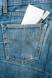Blue jean with paper and pen on white isolated Stock Photography