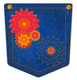 Blue Jean Pocket. Jean Pocket decorated with bright flowers and gold stitching Royalty Free Stock Photos
