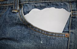 Blue jean pocket with paper Stock Photo