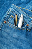 Blue jean pocket with two pen Stock Photography