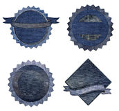 Blue jean Premium Quality and Guarantee Labels Stock Photo