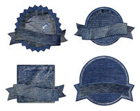 Blue jean Premium Quality and Guarantee Labels. Collection of Premium Quality and Guarantee Labels with blue jean vintage styled design isolate on white Royalty Free Stock Photography