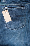 Blue jean with price tag Stock Image