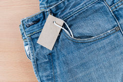 Blue jean with price tag Stock Photo
