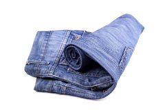 Blue jean roll isolated on white background. Jean roll isolated on white background royalty free stock images