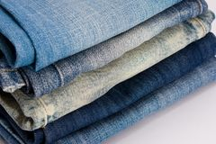 Blue jean stack Stock Image