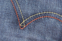 Blue jean texture with stitches Royalty Free Stock Photos