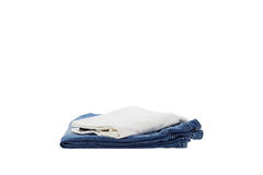 Blue jean and white t-shirt isolated on white background. Royalty Free Stock Photography