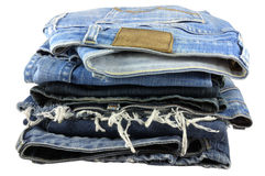 Blue jeans . A Stack of old blue jeans pants Royalty Free Stock Images