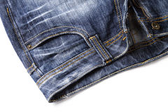 Blue jeans. One blue jeans on white background stock photo