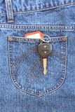 Blue jeans. Pocket with key Stock Photography