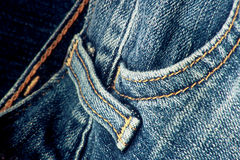 Blue Jeans. Close up of blue jeans with seams Royalty Free Stock Photos