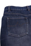Blue jeans. With yellow stitches as background or backdrop Royalty Free Stock Photography