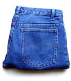 Blue jeans. Folded blue jeans man's pants stock photo