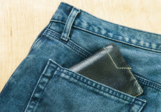 Blue jeans back pocket Stock Images