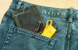 Blue jeans back pocket Stock Photography