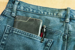 Blue jeans back pocket Royalty Free Stock Images