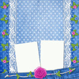 Blue jeans background with lace and buttonhole Royalty Free Stock Images