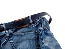 Blue jeans with belt Stock Photo