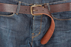 Blue jeans with belt Royalty Free Stock Photo