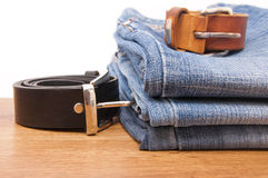 Blue jeans with belt Stock Photography