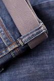 Blue jeans with belt Royalty Free Stock Images