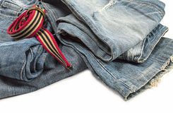 Blue jeans and belt. Stock Photos
