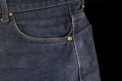 Blue jeans, at black background Stock Photo