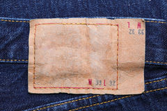 Blue jeans blank leather label Stock Photos