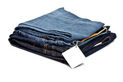 Blue jeans with blank tag Stock Images