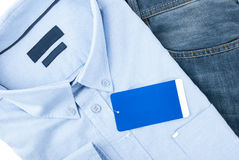 Blue jeans and blue shirt Stock Photography