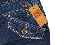Blue jeans with brown label Royalty Free Stock Images