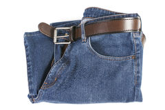 Blue Jeans with brown leather belt Stock Photos