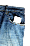 Blue Jeans and card. Closeup of credit card in blue jeans pocket. Card is white so you can overlay your own text or design stock image