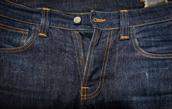 Blue jeans close-up for background, texture Stock Image