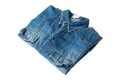 Blue jeans. Close up blue denim shirt jeans on white stock image
