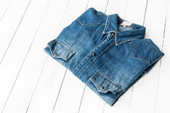 Blue jeans. Close up blue denim shirt jeans on white royalty free stock photos