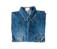 Blue jeans. Close up blue denim shirt jeans on white royalty free stock images