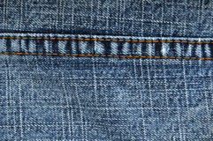 Blue jeans close up of stitching Stock Photos